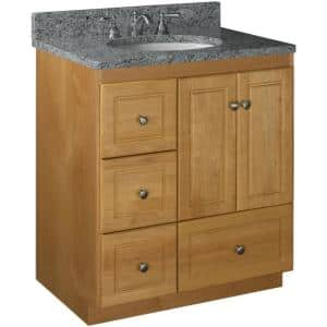 Ultraline 30 in. W x 21 in. D x 34.5 in. H Simplicity Vanity with Left Drawers in Natural Alder