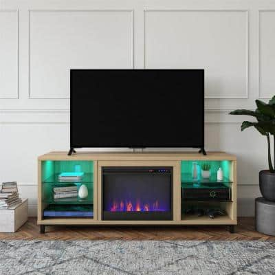 Cleveland Deluxe 64.75 in. Freestanding Electric Fireplace TV Stand for TVs up to 70 in. in Blonde Oak