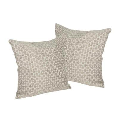 Arballo Brown Geometric Polyester 25 in. x 25 in. Throw Pillow (Set of 2)