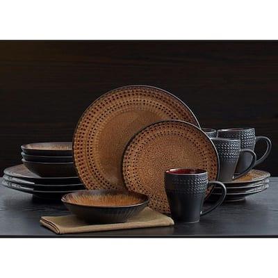 Cambria 16-Piece Contemporary Brown Stoneware Dinnerware Set (Set for 4)