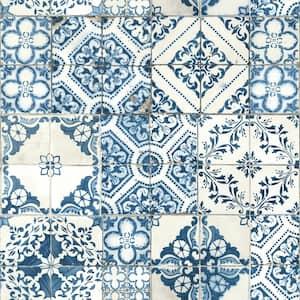 Mediterranean Tile Blue Geometric Vinyl Peel & Stick Wallpaper Roll (Covers 28.18 Sq. Ft.)