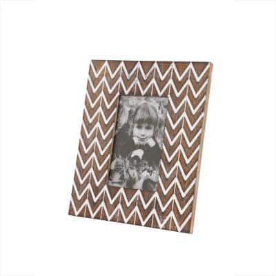 4 in. x 6 in. Rectangular White and Natural Carved Wood Picture Frame with Chevron Pattern