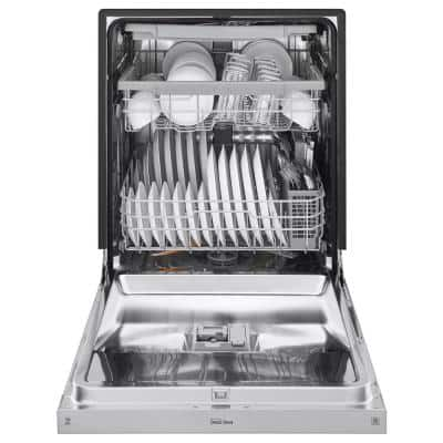 24 in. PrintProof Stainless Steel Front Control Built-In Tall Tub Dishwasher with QuadWash, 3rd Rack, SmartThinQ, 46 dBA