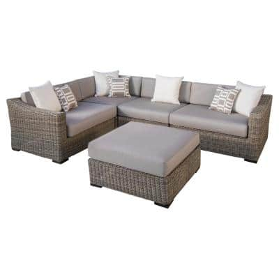 Resort 5-Piece Wicker Patio Sectional and Ottoman Seating Set with Weathered Grey/Frank Stone Cushions