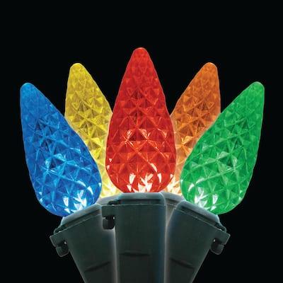 80-Light C6 Faceted Multi LED Light Set, Green Wire