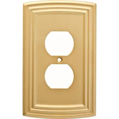 Brass 1-Gang Duplex Outlet Wall Plate (1-Pack)
