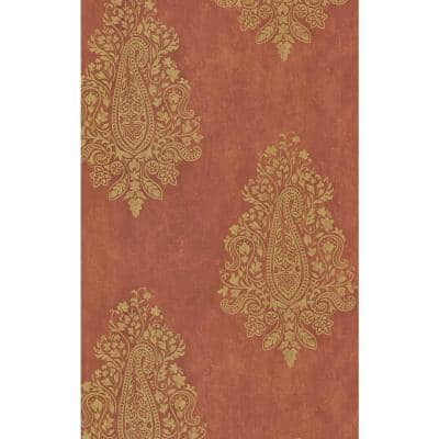 Mehndi Tawny Paisley Paper Strippable Roll Wallpaper (Covers 56.4 sq. ft.)
