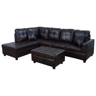 Brown Faux Leather 3-Seater Left-Facing Chaise Sectional Sofa with Storage Ottoman