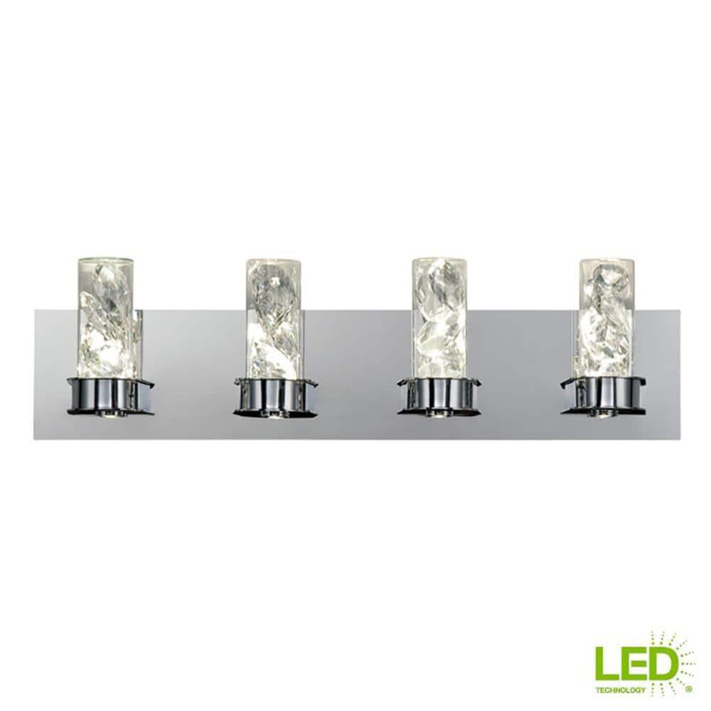 Home Decorators Collection Cusseta 30 Watt Crystal Integrated Led 4 Light Vanity Light 28116 Hbu The Home Depot