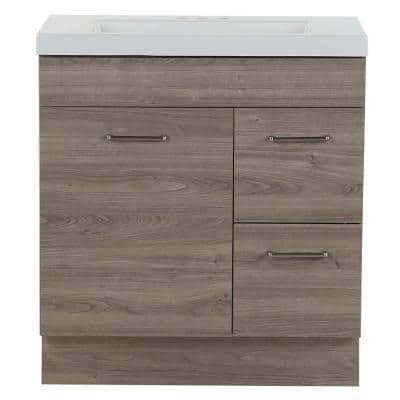 Jayli 30.5 in. W x 16.75 in. D Bath Vanity in Forest Elm with Cultured Marble Vanity Top in White with White Sink