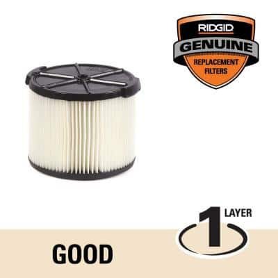 1-Layer Standard Pleated Paper Filter for 3 to 4.5 Gal. RIDGID Wet/Dry Shop Vacuums