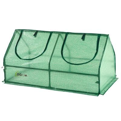24 in. W x 47 in. D Compact Outdoor Seed Starter Greenhouse Cloche with PE Protection Cover for Protected Gardening