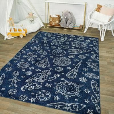 Space Rockets Blue/White 5 ft. x 7 ft. Area Rug