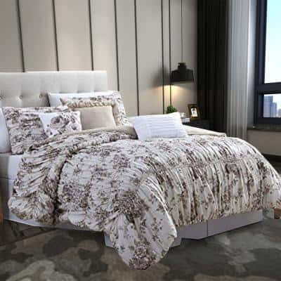 Lyon 6-Piece Beige and Brown Floral Microfiber King Comforter Set with Shirring