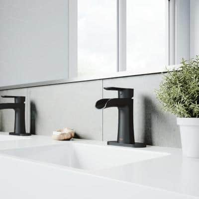 Paloma Single Hole Single-Handle Bathroom Faucet with Deck Plate In Matte Black