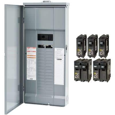 Homeline 200 Amp 30-Space 60-Circuit Outdoor Main Breaker Plug-On Neutral Load Center - Value Pack