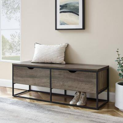 47.75 in. W. Grey Wash Wood 2-Drawer Storage Bench