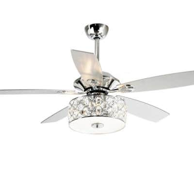 52 in. Chrome Crystal Ceiling Fan with Light Kit and Remote Control