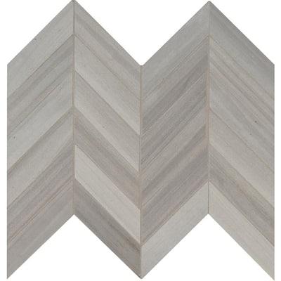 Havenwood Platinum Chevron 12 in. x 15 in. x 9mm Matte Porcelain Mosaic Tile (10 sq. ft. / case)