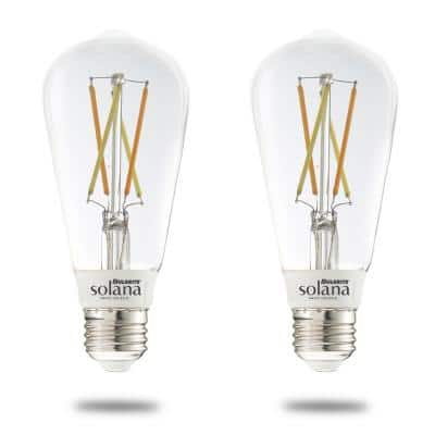 Solana 60-Watt Equivalent ST18 Smart WIFI Connected LED Light Bulb, Clear (2-Pack)