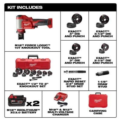 M18 18-Volt Lithium-Ion 1/2 in. to 4 in. Force Logic High Capacity Cordless Knockout Tool Kit w/Die Set 3.0 Ah Batteries