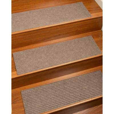 """Halton Beige Set of 4 Solid Stair Treads, 9"""" X 29"""" Polyester Stair Treads Carpet"""