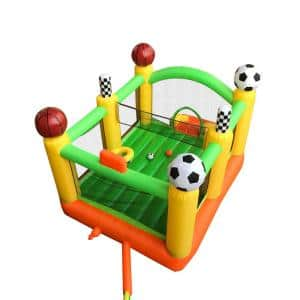 Bounce House with Basketball Rim, Soccer Arena, Volleyball Net and Slide