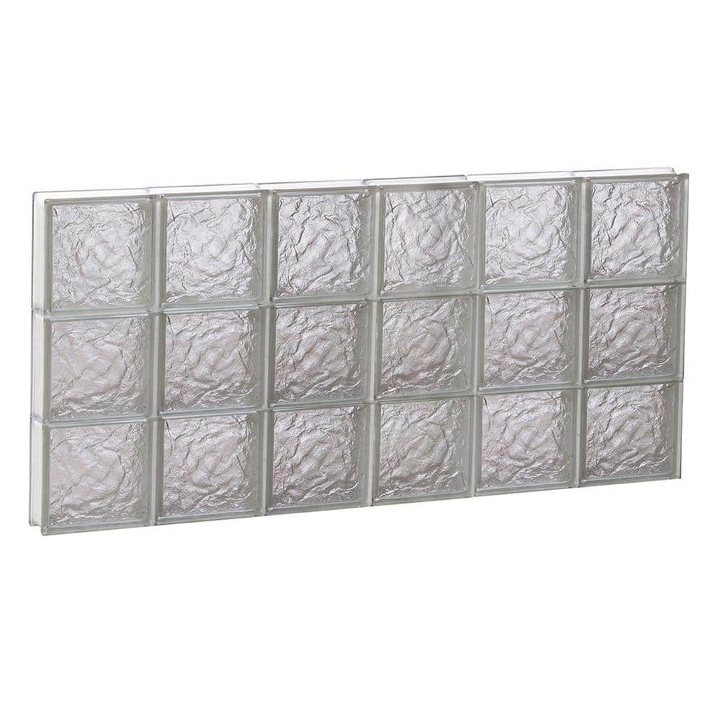 Clearly Secure 46 5 In X 23 25 In X 3 125 In Frameless Ice Pattern Non Vented Glass Block Window 4824sic The Home Depot