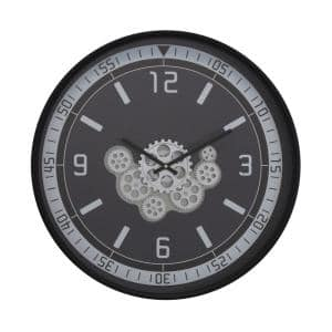 Traditionalist 23''D Black Clock with Open Moving Gears