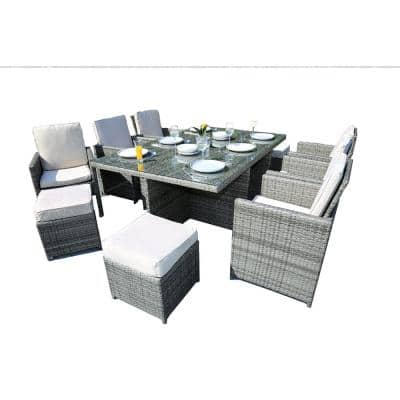 Malta Variegated Grey 11-Piece Wicker Outdoor Dining Set with Beige Cushions and Ottomans