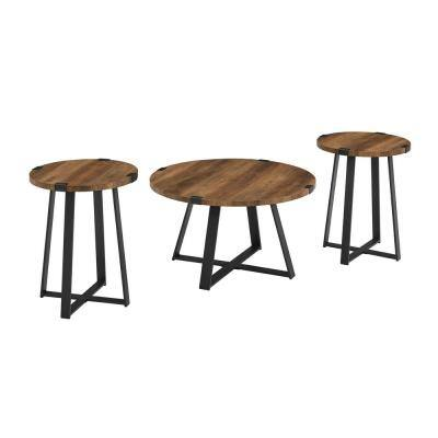 3-Piece Reclaimed Barnwood and Metal Wrap Industrial Coffee and Side Table Set