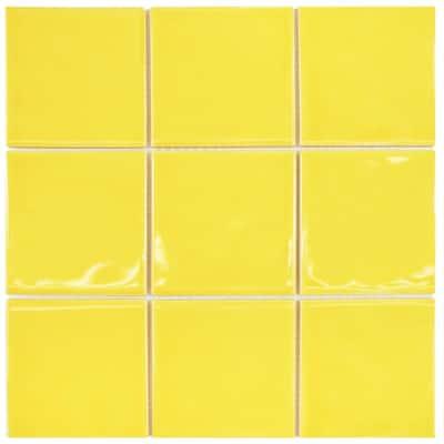 Take Home Tile Sample - Twist Square Yellow Lemon 3-7/8 in. x 3-7/8 in. Ceramic Wall
