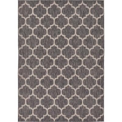 Outdoor Trellis Black 7' 0 x 10' 0 Area Rug