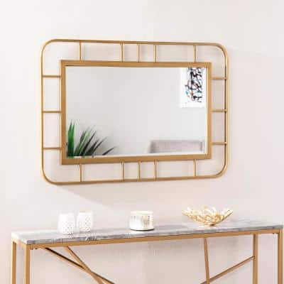 Large Rectangle Gold Art Deco Mirror (40.25 in. H x 27.5 in. W)