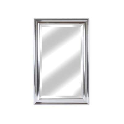 Medium Rectangle Lightly Aged Silver Beveled Glass Modern Mirror (27 in. H x 21 in. W)