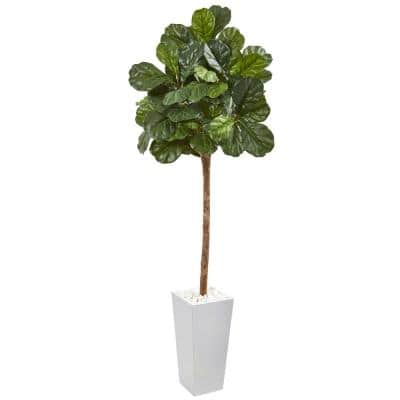 75 in. Fiddle Leaf Fig Artificial Tree in White Planter