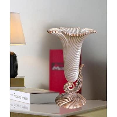 Seashell Antique Ivory Polyresin Decorative Vase