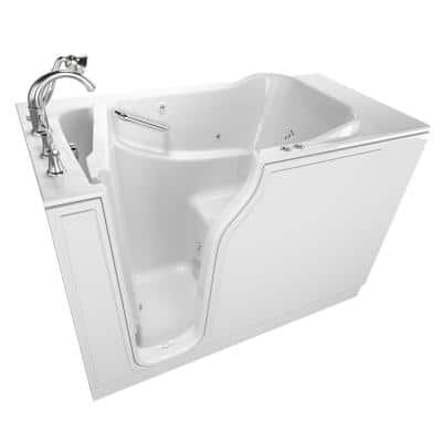 Gelcoat Value Series 52 in. x 30 in. Left Walk-In Whirlpool and Air Bathtub in White
