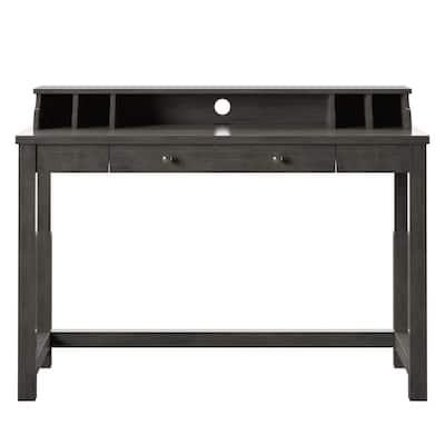 47.38 in. Rectangular Weathered Gray Wood 1-Shelf, 1-Drawer Secretary Desk with USB Charging Ports