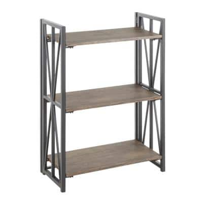 Indy 33 in. Black Metal and Rustic Wood 3-Shelf Bookcase