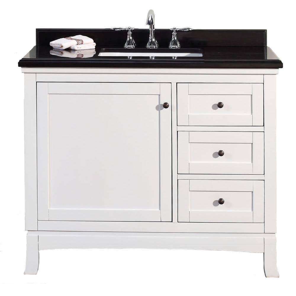 Ove Decors Sophia 42 In W X 21 In D Vanity In White With Granite Vanity Top In Black With White Basin Sophia 42 The Home Depot