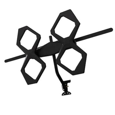 Attic/Outdoor Quadcore HD TV Antenna, Long-Range, VHF UHF 1080P 4K ATSC 3.0