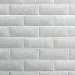 Dallas Pillowed Gray 3 in. x 8 in. 12mm Polished Crackled Ceramic Subway Wall Tile (20-Piece/3.27 sq. ft./Box)