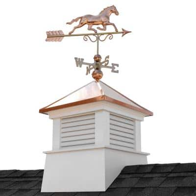 Manchester 30 in. x 30 in. x 56 in. H Square Vinyl Cupola with Horse Weathervane