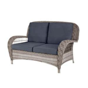 Beacon Park Gray Wicker Outdoor Patio Loveseat with CushionGuard Sky Blue Cushions