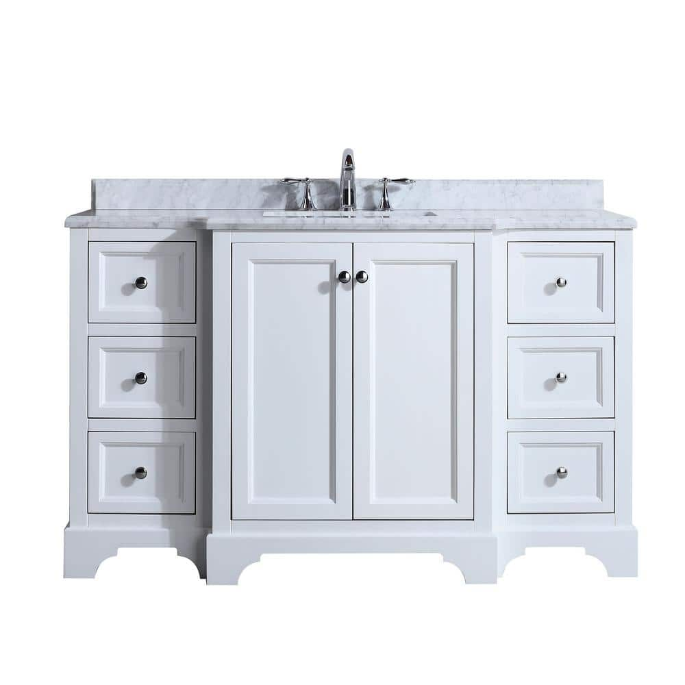 Ari Kitchen And Bath Jenny 55 In Single Bath Vanity In White With Marble Vanity Top In Carrara White With White Basin Akb Jenny 55 Wh The Home Depot