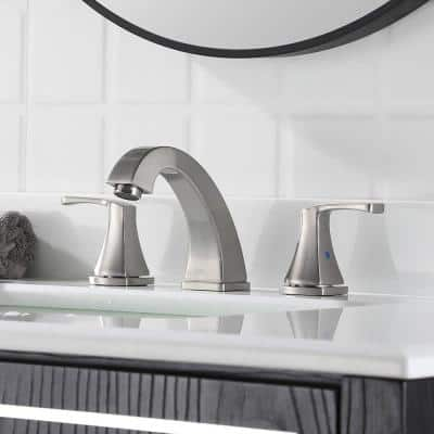 Silver 8 in. Widespread Three Hole 2-Handle Bathroom Faucet with pop-up drain in