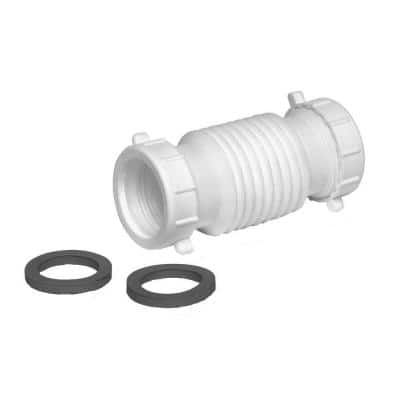Form N Fit 1-1/2 in. x 1-1/2 in. White Plastic Double Slip-Joint Coupling