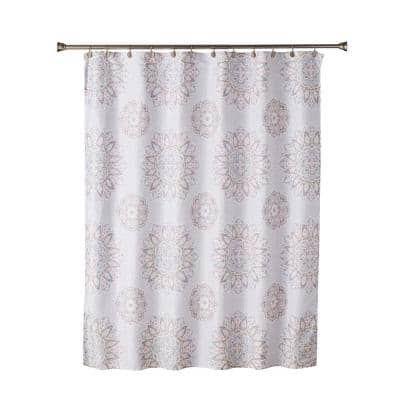 Ariel Medallion 72 in. Coral Pink Shower Curtain