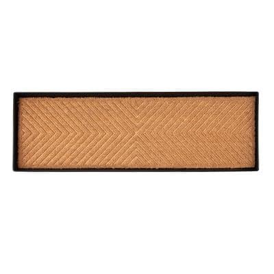 46.5 in. x 14 in. x 1.5 in. Black Metal Boot Tray with Cross Embossed Coir Insert